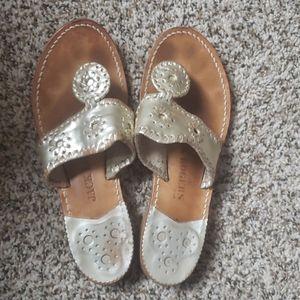 Jack Rogers Women Hamptons Sandals - Platinum - 6M